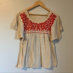 Boho embroidered blouse neutral cream red S-M